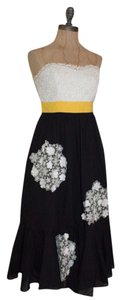 Anthropologie Floral Bustier Lace Tea Color-blocking Dress