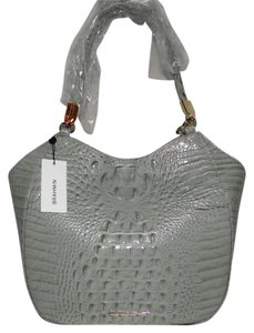 Brahmin Marianna Hobo Croc Emb Leather Tote in Silver Sage
