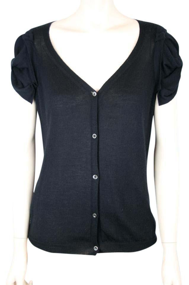 04f9a01ff35e4 Prada Black Cashmere Silk Sweater with Cap Sleeves Cardigan Size 10 ...