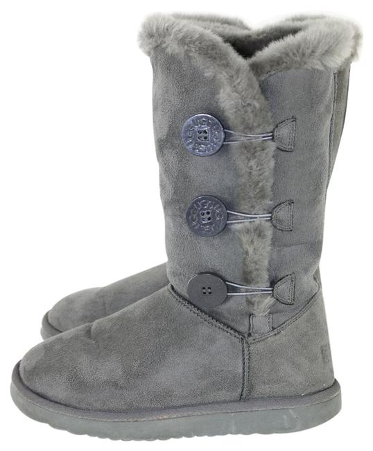 Item - Grey Bailey Button Triplet Sheepskin Mid Calf Boots/Booties Size US 7 Wide (C, D)