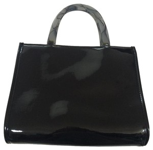 Neiman Marcus Patent Lucite Clear Marble Tote in Black