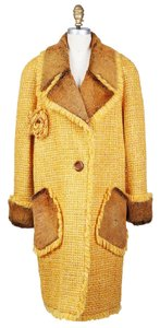 Chanel 01a Tweed Shearling Trench Trench Coat