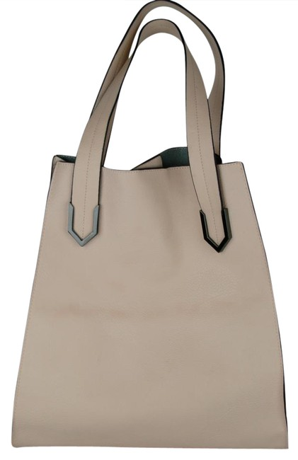 Item - Bag Light Metal Trim Exposed Stitching Pink Peach Leather Tote