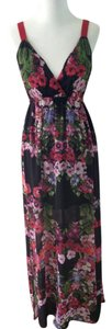Maxi Dress by 2b bebe Colorful Black Floral Red Straps