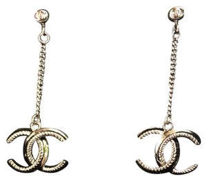 Chanel Gunmetal CC Drop Earrings