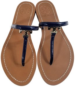 Tory Burch Leather Upper Metal T Logo Monogram Logo Cast In Gold Thong Blue patent Sandals