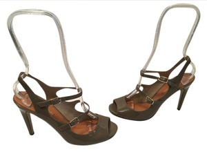 Via Spiga Stiletto Heels Medium Brown patent all leather foot ankle straps peep toe Pumps