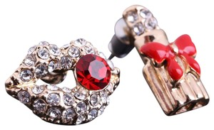 Other New Gold Tone Lips Lipstick Stud Earrings Red Crystal J3156
