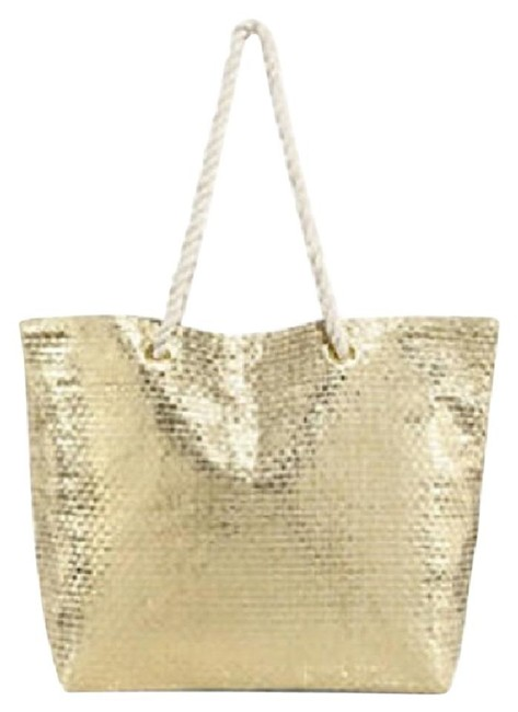 Item - **brand New** Metallic Lt. Weight Gold Bag with White Handles Straw/Foil Tote