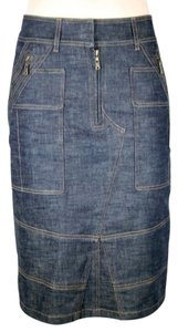 Saint Laurent Stretchy Pencil Fitted Denim Skirt DARK BLUE