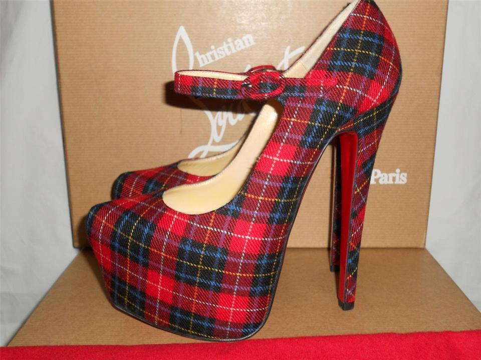 203129e0c72 Christian Louboutin Red Lady Daf Tartan Plaid Mary Jane Heels Pumps  Platforms Size EU 35.5 (Approx. US 5.5) Regular (M, B) 43% off retail