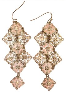 Anthropologie Anthropologie Pale Gold Pastel Pink Lightweight dangle earrings