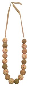 Anthropologie Anthropologie fabric balls ribbon long chunky necklace