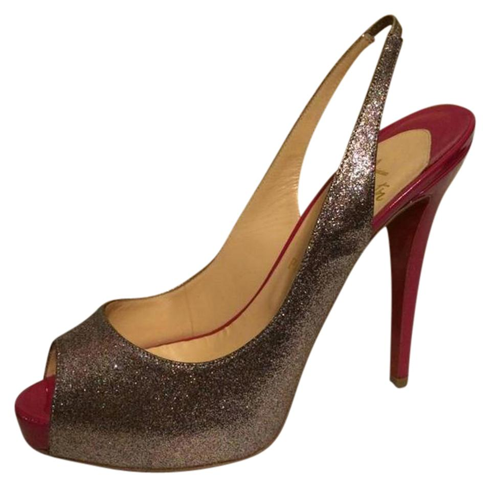 buy online c394d 25f32 Christian Louboutin Grenadine (Silver/Pink) No Prive 120 Glitter Mini Peep  Toe Slingback Heels 39.5 Sandals Size US 9.5 27% off retail