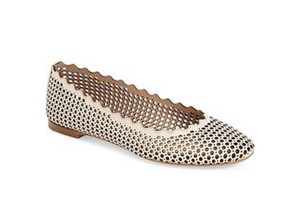 Chlo Perforated Leather Ballerina Chloe Flats