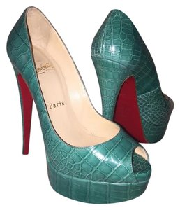 Christian Louboutin Crocodile Alligator Textured Turqouise Platforms