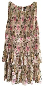 Tracy Reese short dress Beige, Pink, Green Floral Spring Pleated on Tradesy