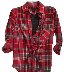 Material Girl Button Down Shirt red plaid/black flannel