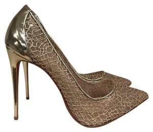 Christian Louboutin Follies Pigalle Stiletto Leather Mesh gold Pumps