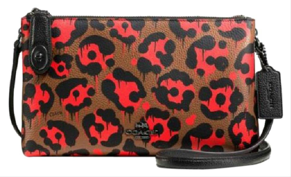 05654788e1 Coach Crosby Xbaseman Wild Beast Brown Black Red Coated Canvas Cross ...