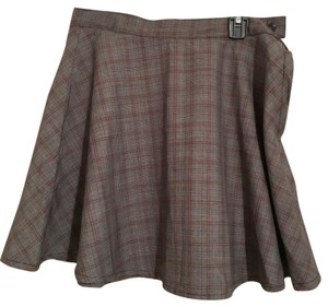 American Apparel Mini Skirt grey with red, black and ivory plaid