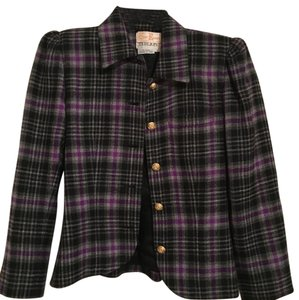 Rickie Freeman for Teri Jon purple black grey and gold accent rose buttons Blazer