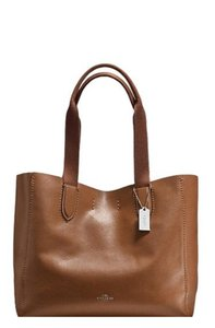 Coach Leather F58660 Saddle Tote in Saddle/ Silver