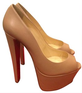 Christian Louboutin Heels Alta Vicky Beige Nude Platforms