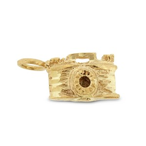 Other Vintage Camera Charm Pendant in Solid 14k Yellow Gold