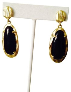 Panacea Cache Elongated Oval Black Onyx Gemstone Earrings