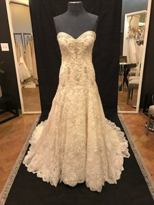 Martina Liana Oyster Dolce Satin and Lace 719 Traditional Wedding Dress Size 12 (L)
