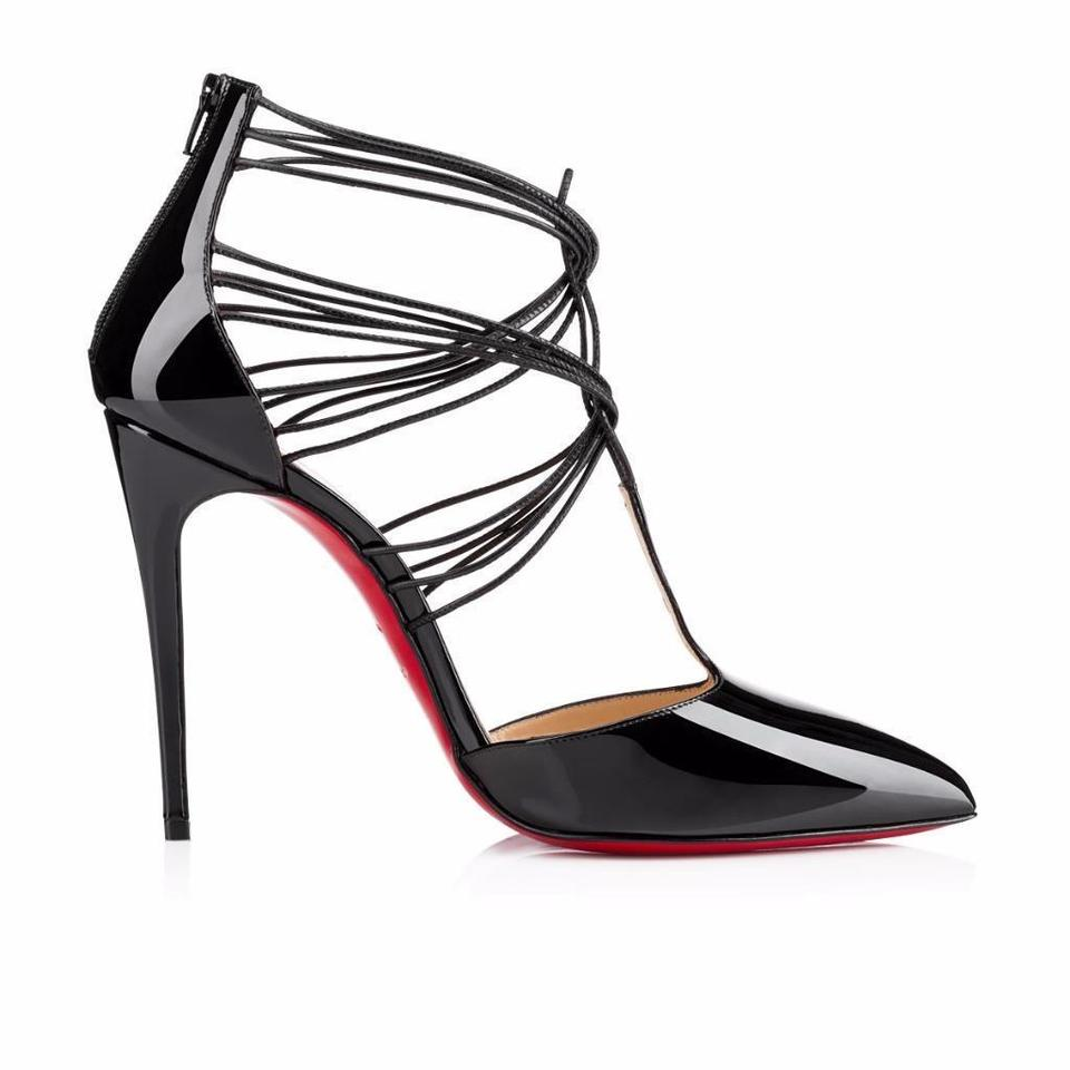 Christian Louboutin Black Strap Confusa Patent Leather T Strap Black Pumps Sandals eb2800