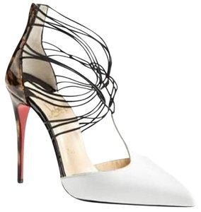 Christian Louboutin Heels Confusa T Strap White/Leopard Sandals
