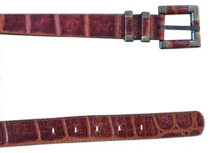 Anthropologie Crocodile Embossed Leather Belt