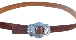 Anthropologie Stamped Leather Belt Silver Buckle