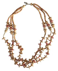 Anthropologie Wood Triple Necklace