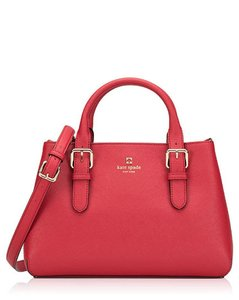 Kate Spade Michael Kors Straw Large Brown Leather Tote in pillbox red