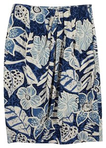 Adrienne Vittadini Floral Size 4 Wrap Skirt blue and white