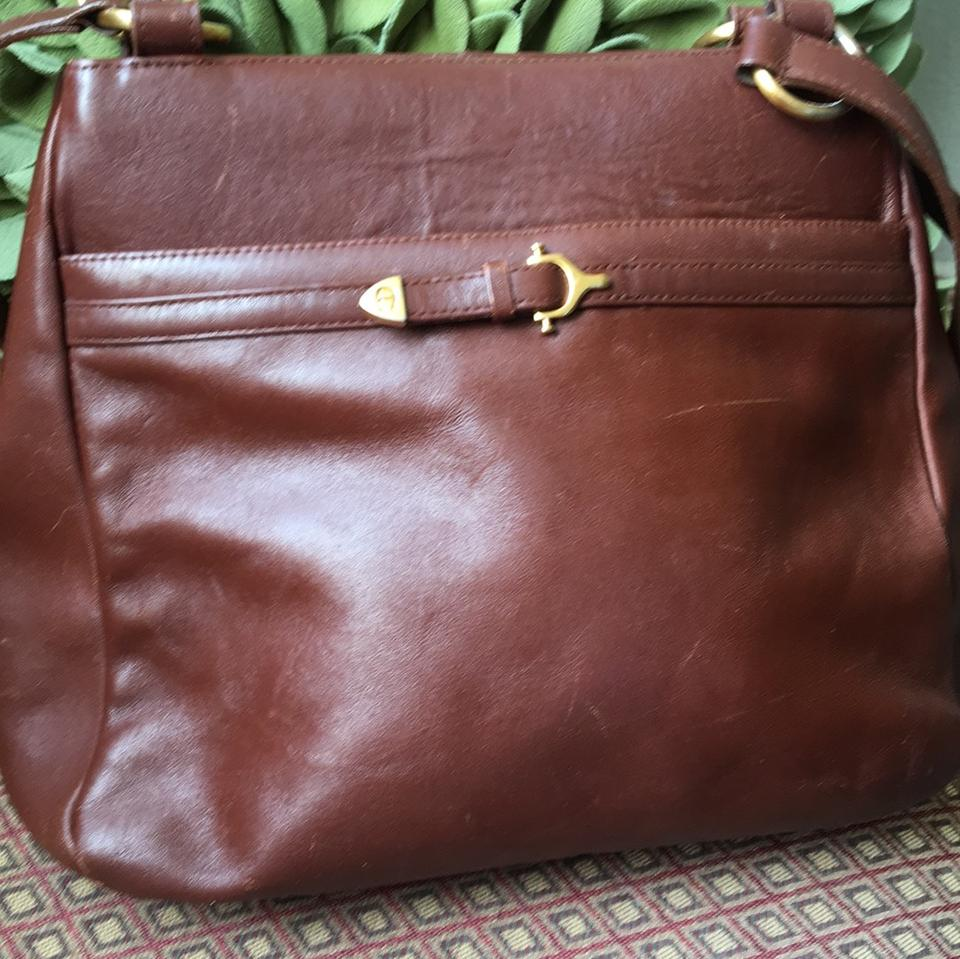 24c7605c05 Etienne Aigner Large Brown Leather Tote - Tradesy