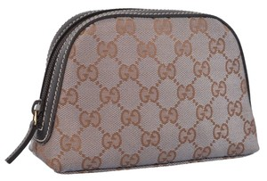 Gucci Gucci Gold Canvas GG Dome Cosmetic Makeup Bag