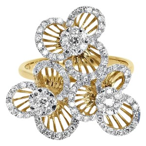 Other 18k Yellow Gold Ladies Round Diamond Wire Flower Fashion Cocktail Ring