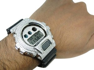 G-Shock Casio Mens G Shock 6900 White Gold Finish Simulated Diamond Watch