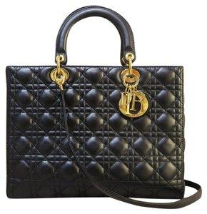 Dior Large Lambskin Satchel in black