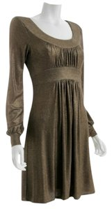A.B.S. by Allen Schwartz Empire Waist Night Out Metallic Longsleeve Evening Dress