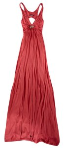 Roberto Cavalli Snake Charm Ruched Long Dress