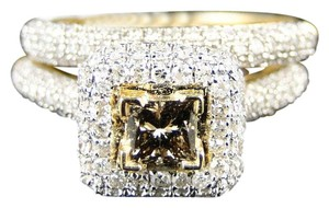 Other 14K BRIDAL BROWN ENGAGEMENT PRINCESS CUT DIAMOND RING 1.2 CT