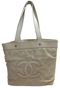 4bb46e575902 Chanel Sale**** Goatskin Perforated Small Cc Off White Leather Tote ...