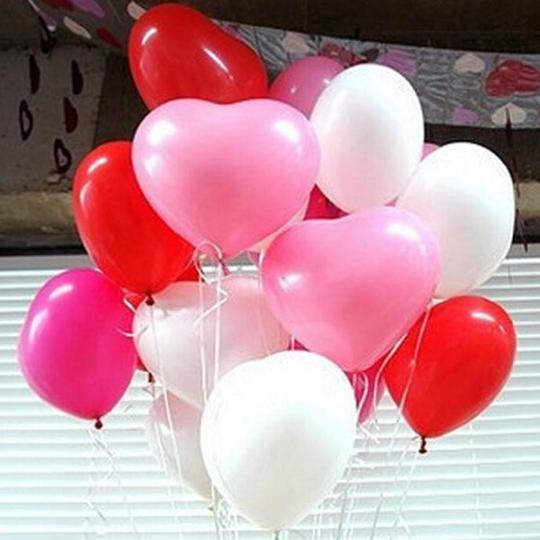 "White Pink Red 24 Pcs Of 12"" Heart Shape Latex Balloon Helium Float Ceremony Decoration"