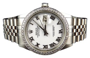 Rolex Mens Rolex 36 MM Datejust Jubilee Stainless Steel White Diamond Watch