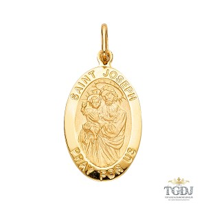 Top Gold & Diamond Jewelry St. Joseph Religious Pendant, 14K Yellow Gold Religious Pendant